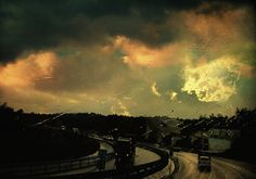 rain, rainy, road, highway, clouds, night, twilight, dawn, city, car, lights, truck, sunset, sun light, colors, beautiful, colorful, yellow, orange, green, blue, rain drops, warm, autumn, nature, weather, mysterious, melancholy, poetic, philosophical, dream, dreamy, magical, surreal, surrealism, urban, texture, taylan soyturk, fine art america, canvas, poster, print, best sellers, decorative, photo art, romanticism, window, storm, love, emotional, dark, loneliness, photo painting, sky