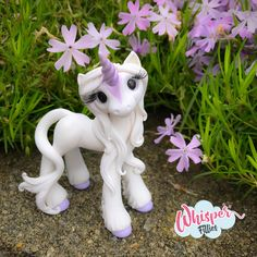 Whisper Fillies Amalthea The Last Unicorn  inspired horse pony figurine. Handmade from Polymer Clay  Visit my etsy page whisperfillies.etsy.com for more little Filly cuteness.