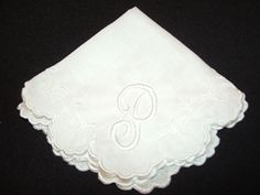White Embroidered and Monogrammed Handkerchief