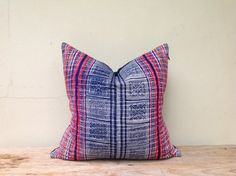 "Vintage Homespun Hemp Batik Hand Woven Pillow Case 18"" x 18""  Pieces Of Tribal Costume on Etsy, $50.00"