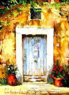 blue-door.jpg [Blue Door (2009) - 39 x 31 Original Oil on Canvas]
