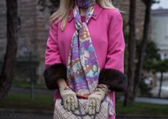 The pink coat finally! Coat Made by me/SILKY1WAY (wool), mink fur cuffs in dark brown colour, Maxi Twilly (pongé silk) by SILKY1WAY, crystal brochess purchased in Prague, bracelet Hermès Kelly dog, J. Crew, suede gloves, purse Chanel 227 reisue Dark Brown Color, Mink Fur, Hermes Kelly, Prague, Floral Tie, Cuffs, Gloves, Chanel, Crystal