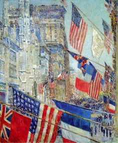 "~ Frederick Childe Hassam - American Impressionist painter) ""Allies Day"", 1917 - oil on canvas National Gallery of Art, Wa. Claude Monet, National Art, National Gallery Of Art, Art Gallery, Online Gallery, Mary Cassatt, Renoir, Pictures Of America, American Impressionism"