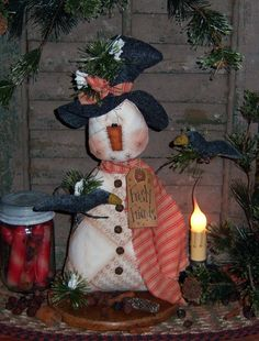 Primitives by Folk Art Artist......Patti Sikes (Pattis Ratties)    Up for purchase is this....... Primitive Frosty Friends Quilted Snowman with