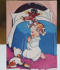 A picture of a little girl saying bedtime prayers.  You can see her Golliwogg doll laying on her bed in the background.  A Golliwogg was a popular doll in the earlier 1900's that was a characture of Black Americans.