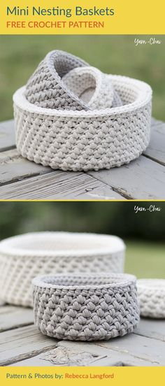 Mini Nesting Baskets Free Crochet Pattern Wonderful baskets are available in three different sizes. They have a great texture and a very impressive effect. They will decorate your room wonderfully. Crochet Bowl, Crochet Basket Pattern, Knit Basket, Quick Crochet, Chunky Crochet, Diy Crochet, Crochet Patterns, Crochet Baskets, Crochet Doilies