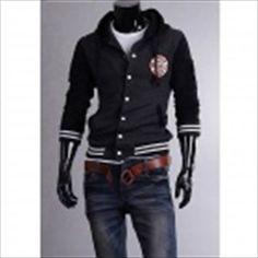 MUGE 5875 Fashionable Men's Leisure Baseball Hooded Fleece - Black + Grey (Size-XXL) SGD 55.58 (Free Shipping Worldwide)