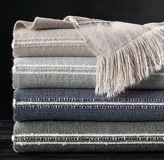 Alpaca Corded Stripe Oversized Bed Throw
