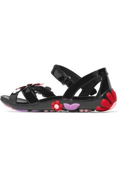 Prada - Floral-appliquéd Patent-leather Sandals - Black - IT40.5