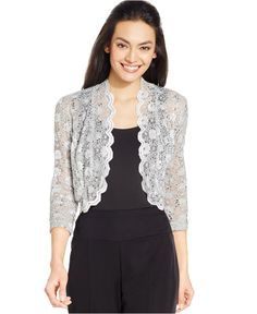 R&M Richards Scalloped Sequin Lace Bolero - Sweaters - Women - Macy's