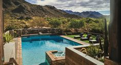 Very nice layered walkout backyard to pool with views. Phoenix Home & Garden Magazine
