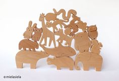 ANY 9 animals Organic wooden toy Wooden toy por mielasiela