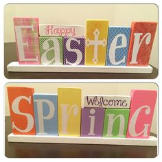 DIY reversible Easter/Spring blocks made with scrapbook paper & the Silhouette & vinyl