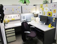 Chic yellow cubicle makeover