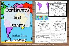 This 45 page FREE Printable Continents and Oceans pack from A Moment In Our World includes 3 Part cards for the Continents and then multiple choice questions for the rest of the pack. 3rd Grade Social Studies, Social Studies Activities, Teaching Social Studies, Teaching Geography, Teaching History, History Education, Continents And Oceans, 5 Oceans, Oceans Of The World