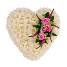 Chrysanthemum Heart Funeral Tribute Arrangement