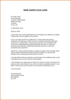 Cover Letter For Cashier Related Post Sample Application Letter For Bank Teller Classic .
