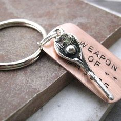 LACROSSE Weapon of Choice Stamped Keychain alt by riskybeads, $14.95. I know who I'm getting this for!