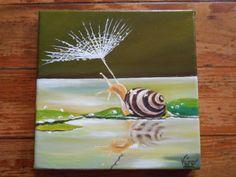 Voici ce que je viens d'ajouter dans ma boutique #etsy : Original tableau à l'huile d'un escargot sous une ombrelle-Oil painting of a snail under an umbrella http://etsy.me/2zfOmqA #art #peinture #vert #anniversaire #noel #blanc #tableaualhuile #escargot #ombrelle