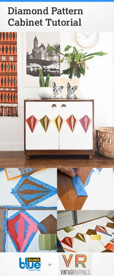 Learn how to take an inexpensive thrift store piece of furniture and bring it to life. Diamond patterns are a dominating pattern trend right now and this tutorial will help you bring this trend to life in your own home.