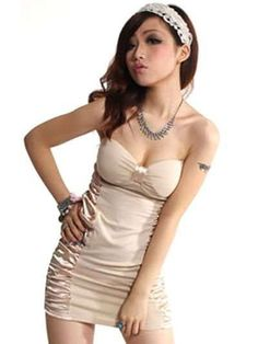 Lovely Beige Silk Floss Satin Strapless Womens Dress - Clubwear - Women's Clothing