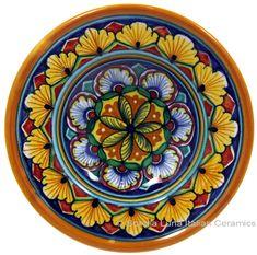 Ceramic Majolica Dipping Plate Green Orange 12cm