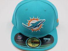 New Era Miami Dolphins NFL On Field 59Fifty Aqua Green Fitted Hat Baseball Cap #NewEra #MiamiDolphins