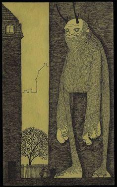 John Kenn Mortensen / Don Kenn Monster Art, Monster Drawing, Arte Post It, Post It Art, Gravure Illustration, Monster Illustration, Illustration Art, Creepy Drawings, Creepy Art