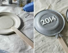 DIY New Years Eve shakers for kids. Put rice inside the plates and glue together. Let the kids decorate the outside with paint, sequin and ribbon