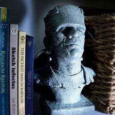 "Awesome Monster of Frankenstein Bust, One of a Kind in Stone that Glows In The Dark, 10"" Bust Sculpture, Halloween Decoration. $80.00, via Etsy."