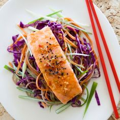 What Ill be cooking tonight (minus the cabbage of course) - Grilled Salmon with Rainbow Noodles by Nadia Lim Salmon Recipes, Seafood Recipes, Pasta Recipes, Cooking Recipes, Dinner Recipes, Dinner Ideas, Chicken Recipes, Clean Recipes, Healthy Recipes