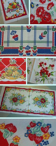 Vintage Pattern •~• linen tea towels