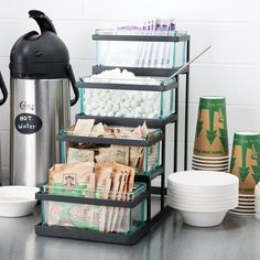 Cal-Mil Black Stair Step Condiment Display with Glass Jars 18 x 9 x 17 Black Stairs, Condiment Holder, Pots, Mothers Day Breakfast, Café Bar, Stair Steps, Kitchen Organization, Office Storage, Glass Jars