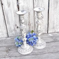 This lovely pair of heavy metal candlesticks were dark and boring! I felt they had such beautiful lines, and just needed to be reborn! They are