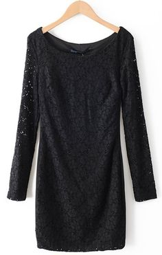 Black Hollow Lace Long Sleeve Round Neck Dress