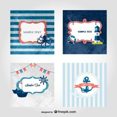 Marine retro cards collection Free Vector