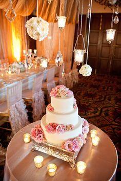 Pretty cake table  www.atyourserviceweddings.net  www.facebook.com/rocnrevmike