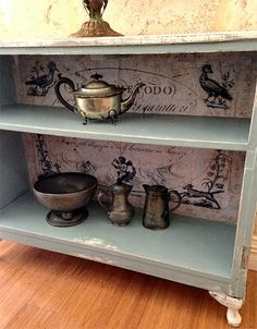Beautiful Painted Buffet - Reader Featured Project....the decoupaged background is amazing....