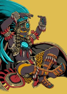 12 Major Aztec Gods And Goddesses You Should Know About. Taking Mesoamerican cross-cultural influences into consideration, let us take a gander at 12 major Aztec gods and goddesses. Fantasy Kunst, Fantasy Art, Aztec Culture, Inka, Aztec Warrior, Mexico Art, Aztec Art, Mesoamerican, Gods And Goddesses