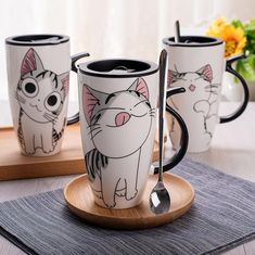 Cute Cat Style Ceramic Mug with Lid and Spoon for Milk Coffee Tea Porcelain 600ml