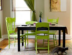 trying to find a way to unify my very mismatched dining chairs... I'm envisioning various shades of pink :)