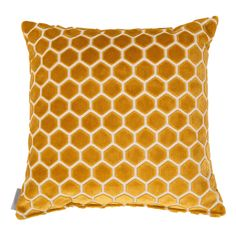 Mustard cushion, honeycomb pattern, honeycomb pattern cushion Zuiver Monty Honeycomb Cushion: Liven up your sofa with this honeycomb patterned cushion in mustard yellow soft velvet Mustard Cushions, Mustard Bedding, Mustard Living Rooms, Color Bordo, Barbie Dream House, Bee Theme, Bees Knees, Home Living, Bee Keeping