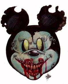 Zombie Mickey Mouse Head of the Living Dead! - Zombie Art by Rob Sacchetto Mickey Mouse Kunst, Minnie Mouse Drawing, Mickey Mouse Head, Zombie Disney, Disney Horror, Zombie Kunst, Art Zombie, Zombie Head, Baby Name Tattoos