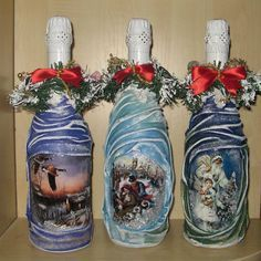 Decorative Bottles: Bottle Decoupage with Cloth: Master .- Decorative Bottles: Bottle Decoupage with Cloth: Decor Workshop … – Decor Object Wine Bottle Art, Painted Wine Bottles, Diy Bottle, Wine Bottle Crafts, Mason Jar Crafts, Primitive Christmas Crafts, Decoupage Glass, Jar Art, Christmas Jars