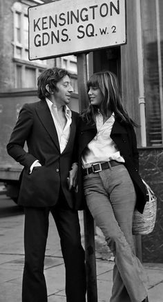 as the namesake of hermes' iconic bag, jane birkin is ever the elegant girlfriend in this photo of her with serge gainsbourg.