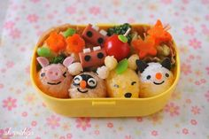 Japanese Bento Lunch #Piglet, raccoon, fox, cat Japanese Food Art, Japanese Sweets, Japanese Style, Bento Recipes, Lunch Box Recipes, Lunch Ideas, Cute Food, Good Food, Funny Food