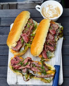 "Philly cheese steak sandwich recipe. My take on a ""Philly cheese steak sandwich"" – a juicy sandwich with grilled flank steak, provolone cheese, dijon mustard, and fried vegetables in a soft warm brioche roll."