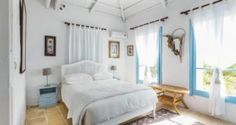 double bed in the Traditional villa for 8 in North Zakynthos, Greece, near The Peligoni Club with a pool