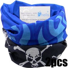 Shells_¡ 2PCS Black Skull Pattern Blue Flame Pattern Polyester Microfiber Outdoor Sport Magic Multifunction No Seam Headscarf Headwear Face Mask Neck Warmer For Motorcycle Bike Ski Outdoor activities ^^ Want to know more, visit the site now : Backpack