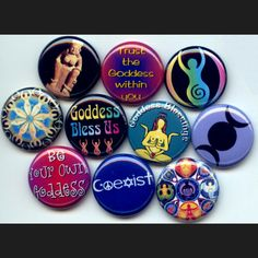 Goddess Mother Earth pagan woman power feminist pinback button set by Yesware11 on Etsy!